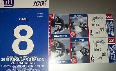 TWO Tickets -NEW YORK GIANTS - GREEN BAY PACKERS- ROW 22- SEC.320+ PARKING PASS