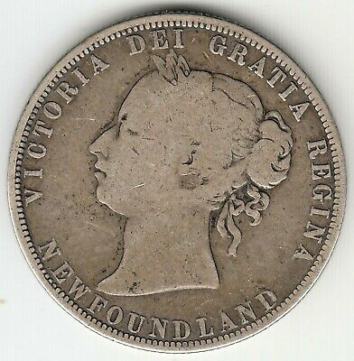 1 x 1874 NEWFOUNDLAND SILVER 50 cent COIN MINTAGE ONLY 80,000 AVERAGE CIRCULATED