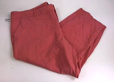 New Old Navy Harper Crop Pants Coral Pink Capri Mid-Rise Sz 26 Plus NWT Womens