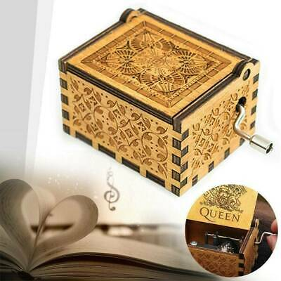 Xmas Music Box Wooden Engraved Queen Love Mom Dad Kids Gift Christmas Toy F6