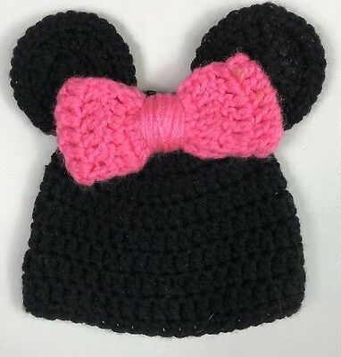 MINNIE MOUSE HAT Handmade Crochet Knit Baby Size 0-6 Months