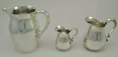 3 Mid-Century Modern Reed and Barton Silver Plate Pitchers