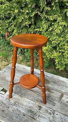 Beautiful Vintage Small 3 Legged Wooden Stool Plant Stand With Shelf *