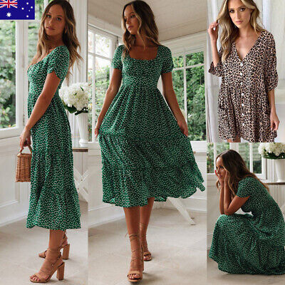 Women Vintage Floral Dress Ladies Summer Beach Short Sleeve Casual Midi Dress