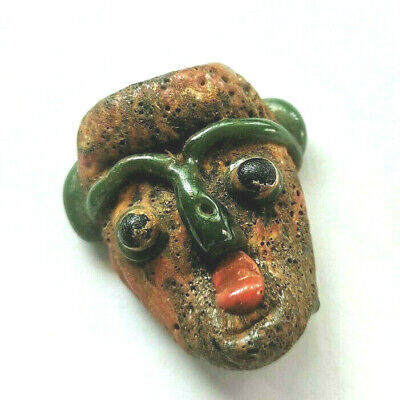 Exellent Ancient Mosaic Glass Face Bead Green Nose Near Western Afghan Amulet
