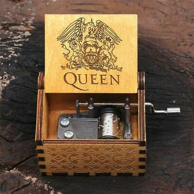 Retro Music Box Wooden Engraved Queen Love Mom Dad Kids Toy Christmas Gift