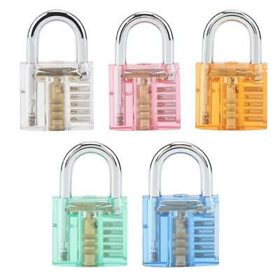 Transparent Padlock Set Pick Cutaway Practice Lock W/ Key Removing Hook Kit Tool