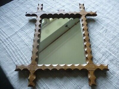 French Vintage Carved Small Mirror Oak Cross Frame with Crown Motif