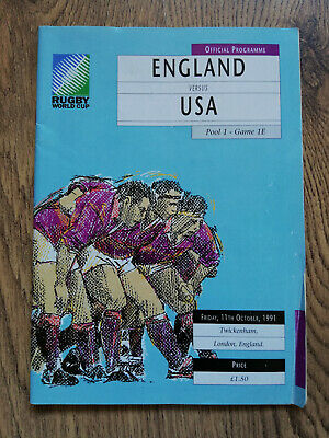 England v USA 1991 Signed Rugby World Cup Programme