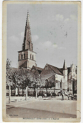 1930s MEURSAULT church France vintage postcard stamp
