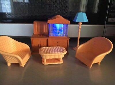 RARE Sylvanian Families Aquarium Light Up Fish Tank Living Room Furniture JP