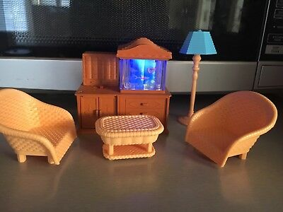 Sylvanian Families RARE Light Up Revolving Fish Tank Aquarium Living Room New