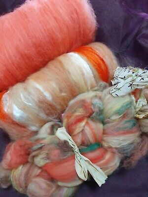 225gr Merino Wool Silk  Spinning Felting Crafts