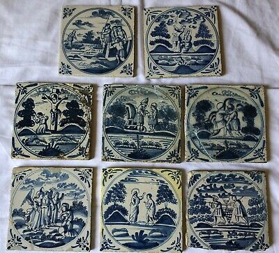 Eight Very Old Antique Biblical Delft Tiles - 18/19 Century (6)