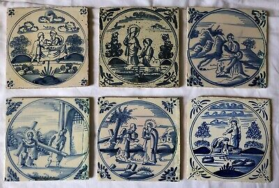 Six Very Old Antique Biblical Delft Tiles - 17/18/19 Century (2)