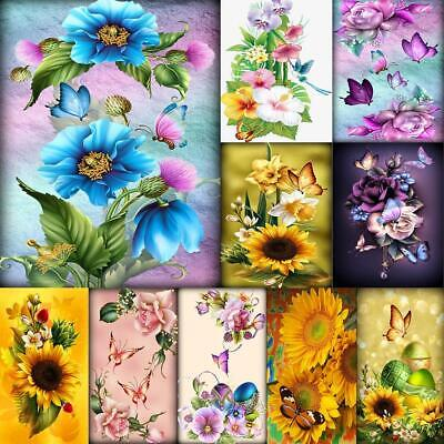 5D Full Drill Diamond Painting Flower Butterfly Cross Stitch Mosaic Kits LY