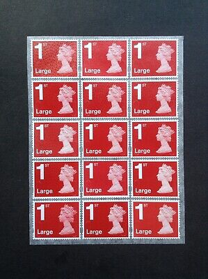 15 1st Class Large Crimson Unfranked Security Stamps Self Adhesive Easy Peel