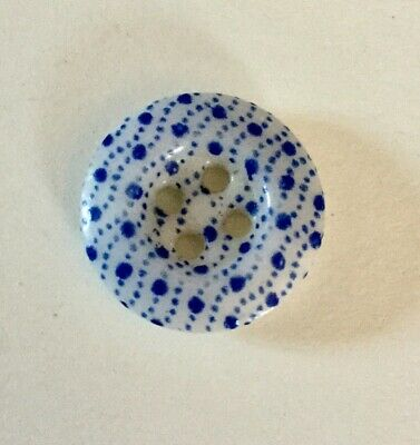 Unusual Pattern Antique China Calico Button Blue Small Old