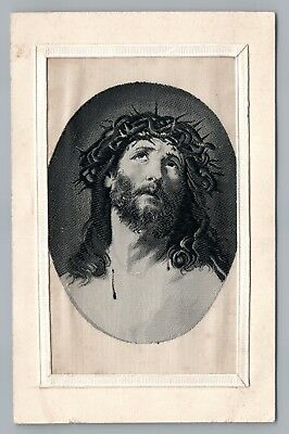 Jesus in Silk RARE Antique Postcard Embroidered Novelty Christianity Woven 1911