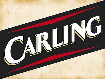 METAL VINTAGE SHABBY-CHIC TIN SIGN CARLING GLASS PLAQUE//FRIDGE MAGNET