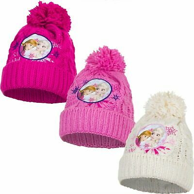 Kids Childrens Girls Frozen Anna Elsa Pink White Knitted Winter Bobble Hat