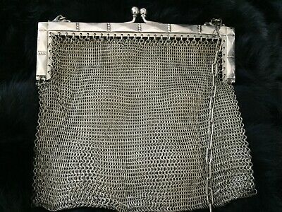 Victorian Antique Art Deco German Silver Mesh Ladies purse