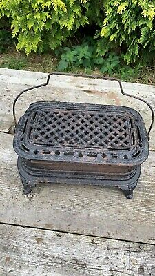 Antique Vintage French Cast Iron Foot Warmer Original 19th Century *