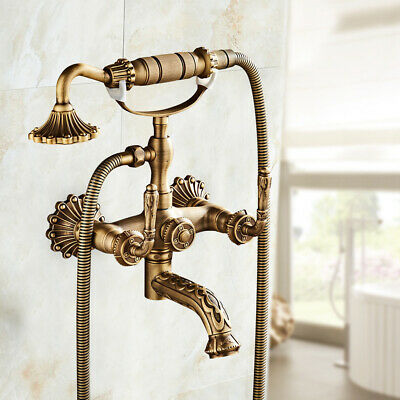 Antique Gold Brass Bath Tub Faucet Hand Shower Spout Mixer Tap 2 Hole Wall Mount