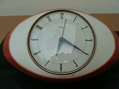 Vintage Smiths Sectric Oval Wall Clock Orange / Cream Spares Or Repair