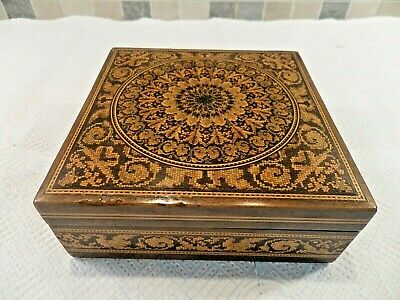 Antique Tunbridge Ware Inlaid Micro Mosaic Birds Eye Maple Handkerchief Box