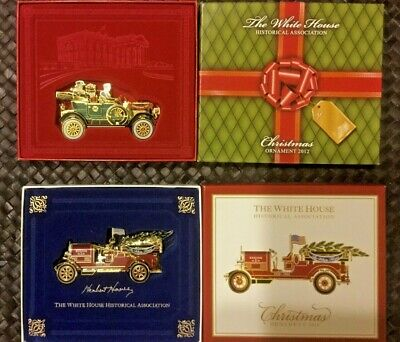 White House Historical Association Christmas Ornaments FIRE TRUCK & 1st AUTO
