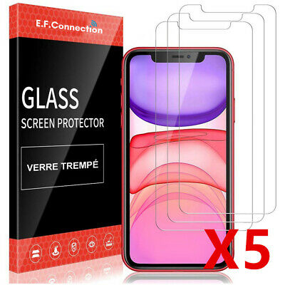 5Pcs Vitre verre trempe film de protection écran 9H iPhone 11/11 Pro Max/XS/X/XR