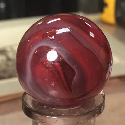 """Vintage Machine Made Cherry Red Slag Marble 15/16"""" New England Shooter Amazing"""