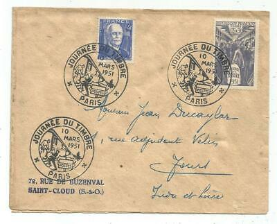 France Surtaxe 12Fr +4Fr Branly Journee Timbre  Lettre Paris 10 Mars 1951