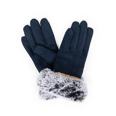 Powder - Navy Blue Faux Suede Penelope Gloves with Powder Presentation Gift Bag