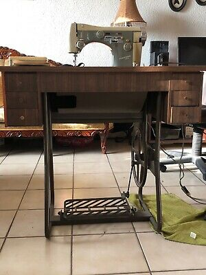 Vintage NECCHI sewing machine , Wooden Cabinet , Instructions And Original Peace