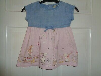 Next Girls  Pretty Denim Bunny Rabbit Dress - 6-9 Months