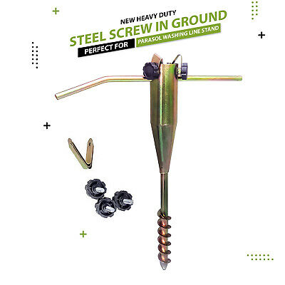 Heavy Duty Parasol Airer Rotary Washing Line Stand Steel Screw In Ground Spike