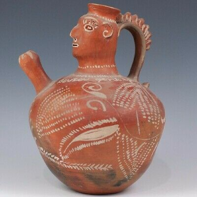 "pre columbian human effigy water pitcher, H:11"" reproduction, red ware"