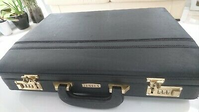 Jensen Black Leather Executive Briefcase with Combination locks
