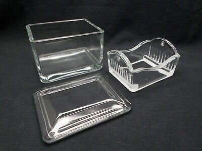 Laboratory 10-20 Slide Glass Staining Dish w/Lid and Tray (No Handle) Chipped