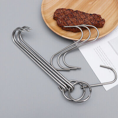 5 Pcs Meat Hooks Stainless Steel Two Types Double-hooks for Fish Hanging Butcher