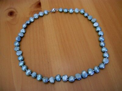 Nice 8Mm-10Mm Blue Gray Freshwater Pearl Strand White Gold Plated Necklace-17.5""