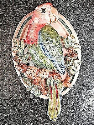 Rare Antique Architectural Hubley Cast Iron Colorful Parrot Door Knocker 82