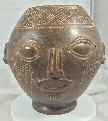 Authentic Large Nicoya Head Vessel (Head Pot)   PreColumbian 700AD-1350AD