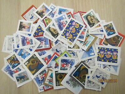 GB, 100 2nd class Mixed Christmas Stamps used, unfranked see photo