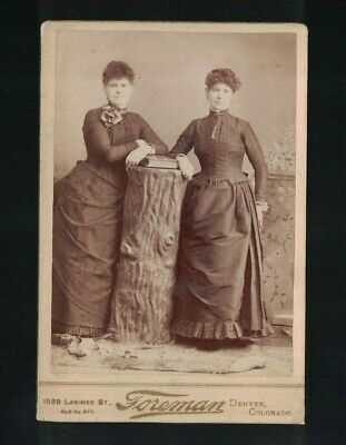 C 1885 Denver CO Sisters In Full Length Pose With Tree Stump Prop Cabinet Card
