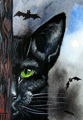 ORIGINAL ACEO painting, Sketch Card, watercolor,black cat,animals,helloween,bat