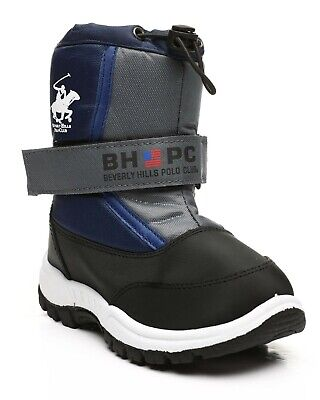 New Kids Beverly Hills Polo Club Strap Side Zipper Blue White Black Snow Boots