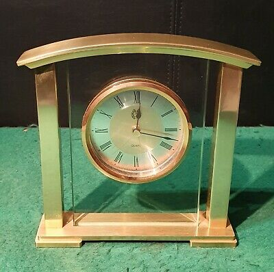 Beautiful Art Deco Style Brass & Glass Mantle Clock with German Quartz Movement